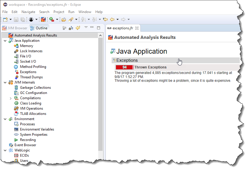 eclipse jmc jfr automated analysis exceptions